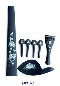 Antonio -A Set Rose Inlaid Handmade-Solid Ebony Violin Parts Luthier VPT.147