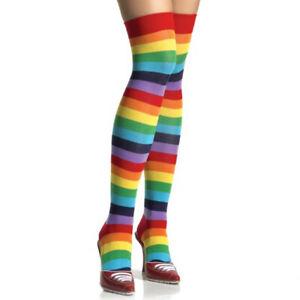 Rainbow Thigh High Adult Socks My Little Pony Dash Brite Punk Womens Multi Color