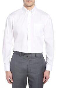 Nordstrom Men Shop Classic Fit Non-Iron Solid Dress Shirt - White - 19.5 / 36