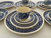 Biltons England BIL4 Blue and White Pastoral Cottage Scene 20 PC Service For 4
