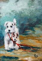 "Original ACEO ATC Painting Art Trading Card ""Sidekick"" Dog Dogs Animals Nature"