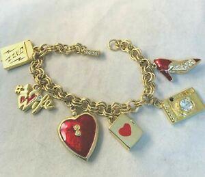 Vintage K.I.S. signed Charm Bracelet Heart Gold Tone Red Enamel Shoe Camera Book