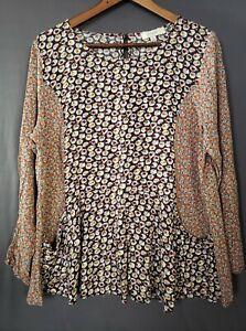 Umgee Women's Long Sleeve Keyhole Floral Print Tunic Blouse Size Large