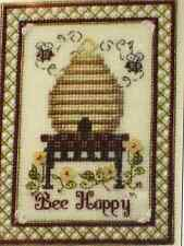 """The Bee Cottage """"BEE HAPPY"""" Counted Cross Stitch Pattern & Flower Embellishments"""