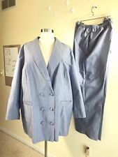 NWOT ALLISON WOODS Plus Size 32 Tall Powder Blue Pink Stripe Polyester Pant Suit