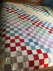 1930-40s Vintage 16-Patch Handmade Quilt~Solid Fabrics~Yellow Back & Edges~95X76