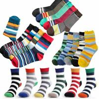 5-6 pairs/lot Cotton Men Socks Vintage Striped Colorful Socks
