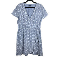 J. Crew Women's Printed Chambray Ruffle Faux Wrap Dress Size Large