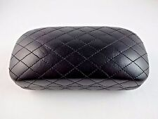Black quilted sunglasses case XL vinyl clam shell shape metal hinge