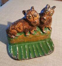 """Vintage Scottish Terrier """"Scottie Dogs"""" Painted Cast Iron Door Stop"""