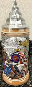 United We Stand USMC USA American Marines LE German Beer Stein .75L