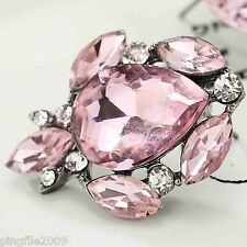Bling Rainbow Drop/Dangle Earring 2.6cm E539 Hot New Design Lady Pink Crystal