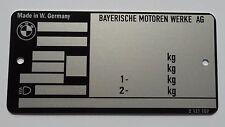 Plaque constructeur BMW - BMW vin plate - typenschild BMW