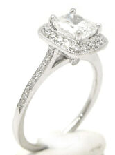 2.25CT CUSHION CUT DIAMOND ENGAGEMENT RING ANTIQUE STYLE PAVE C5 1.5CT CENTER