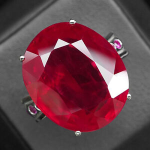 Ruby Blood Red Oval 40.70 Ct. 925 Sterling Silver Ring Size 6.75 Jewelry Women