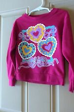 Paper Moon Girls Top Small Fushia with Hearts and Bows Vintage