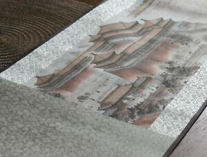 China Rollbild Malerei Druck auf Seide Verbotene Stadt signiert  250 x 25 cm