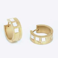 Titan Titanium Klappcreolen Kreolen Ohrringe Perlmutt vergoldet Damen Herren 2