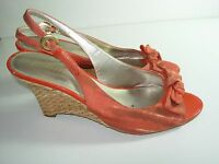 WOMENS ORANGE YELLOW BLACK BROWN WEDGE SLINGBACK SANDALS HEELS SHOES SIZE 9 M