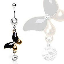 Belly Ring Butterfly 2-Tone Gold/Black Animal Dangle Naval Steel Body Jewelry