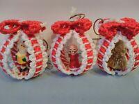 Vintage 7 Christmas Plastic Canvas Finished Christmas Ornaments Needlepoint