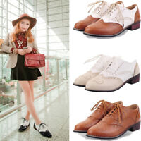 Womens Round Toe Lace Up Low Top Preppy Wing Tip Brogue Shoes Low Heels Pumps sz