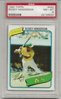 1980 TOPPS #482 RICKEY HENDERSON , PSA 8 NM-MT, HOF, ROOKIE CARD, OAKLAND A'S