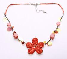Glitzer orange Blume & Pailletten auf String Boho Glam Einstellbar Halskette (zx44)