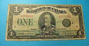 1923 Dominion of Canada 1 Dollar Banknote - BLACK SEAL - Series E - Grade F