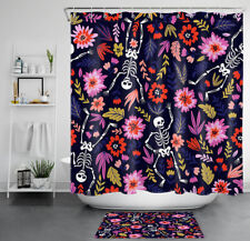 Happy Halloween Skeletons Colorful Flowers Waterproof Fabric Shower Curtain Set