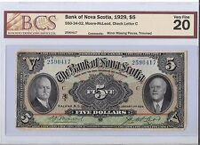 Bank of Nova Scotia,1929 $5 Bill  VF20  B24