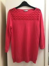 BHS Coral Pink Woven Top / Thin Jumper Crochet Front Neck Detail Size 8 Petite