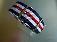 Uhrenarmband Durchzugsband 22 mm blau/weiß/rot NATO BAND Dornschließe Textil