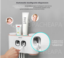New Handfree Toothbrush Holder Automatic Toothpaste Dispenser Set 5 Holder 4 Cup
