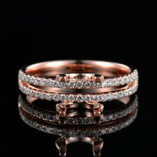 Natural Diamond Semi Mount Wedding Ring Settings Round 6.5mm Solid 18K Rose Gold