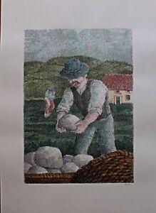 Enzo Bellini serigrafia colorata a mano Il Contadino e i suoi Figli 70x50 1987