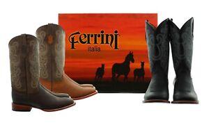 Ferrini Maverick Cowboy Boots, Men's Genuine Leather Square Toe, Western Stitch