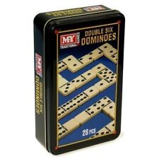 Wooden Kids Childrens Double Six Black Dominoes Toy Game Set Travel Party Bags
