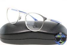 Ray Ban RX Eyeglasses RB 6355 2538 Matte Silver/Blue Round Metal [47-20-145]