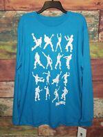 NEW Fortnite Men's Long Sleeve Dancing Tshirt Floss Blue LARGE