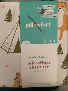 Pillowfort Woodland Whimsy Microfiber Full Sheet Set Fox Bear Owl Bunny New