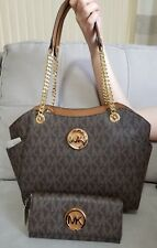 Michael Kors Jet Set Signature Brown Chain Tote & Matching Wallet MK Auth NWT