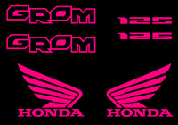 Honda GROM Decal Kit PINK Sticker Motorcycle 125 graphics decals stickers