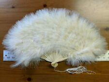 "~~ Vintage White Feather Fan ~ 20"" ~ Ostrich? ~~"