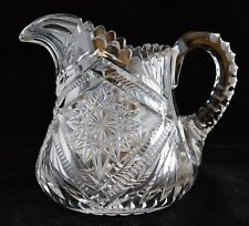 ANTIQUE AMERICAN BRILLIANT LIBBEY SIGNED CUT GLASS CRYSTAL ABP PITCHER JUG