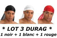 BANDANA SATIN NOIR + BLANC + ROUGE DURAG DU-RAG CAPS DANSE HIP HOP BREAK RAP CAP
