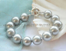 Genuine 14Mm Silver Gray Round South Sea Shell Pearl Beads Bangle Bracelet 8""