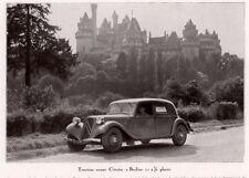 1937 A MAGAZINE PHOTO PRINT  TRACTION AVANT CITROEN BERLIN CASTLE ANTIQUE AUTO