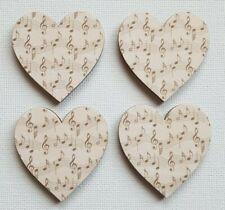 Handmade Set of 4 Wooden Heart Fridge Magnets Lovely Musical Notes Print