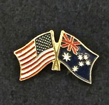 Hat Cap Lapel Pin, new Australian and Us Crossed Flags, Motorcycle